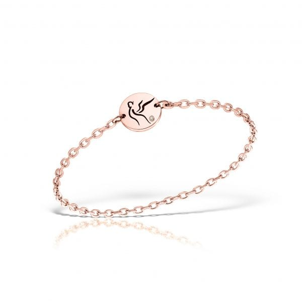 Serenity Chain Ring Pink Gold Diamond