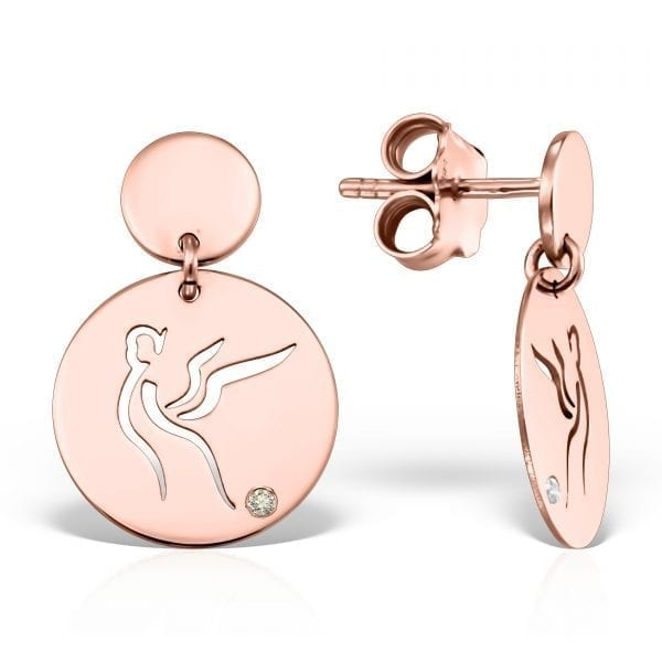 Serenity Suave Earrings Pink Gold Diamond